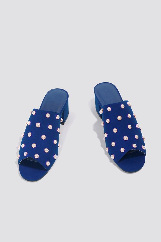 Mule Heel Pearl Sandals Blue