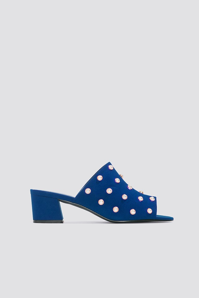 Mule Heel Pearl Sandals Blue