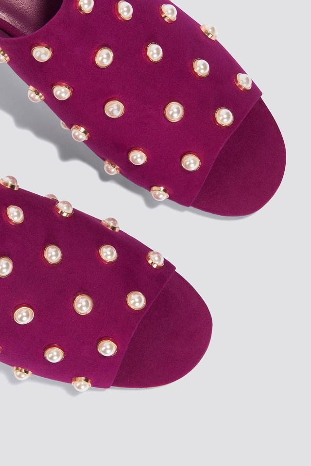 Mule Heel Pearl Sandals Fuchsia
