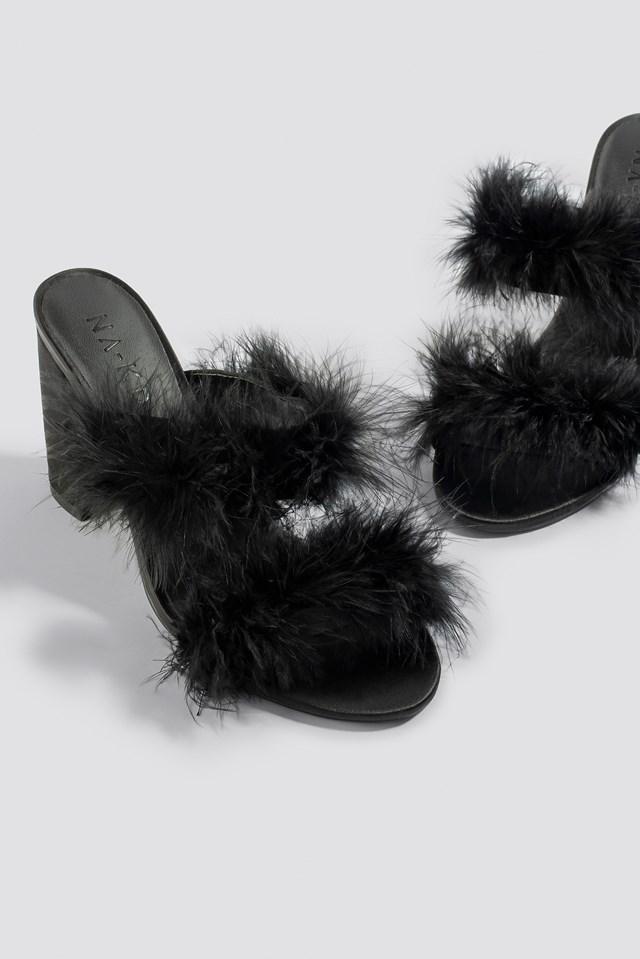 Feather Mule Heel Sandals Black