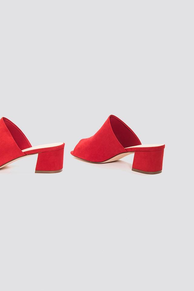 Mule Low Heeled Sandal Red