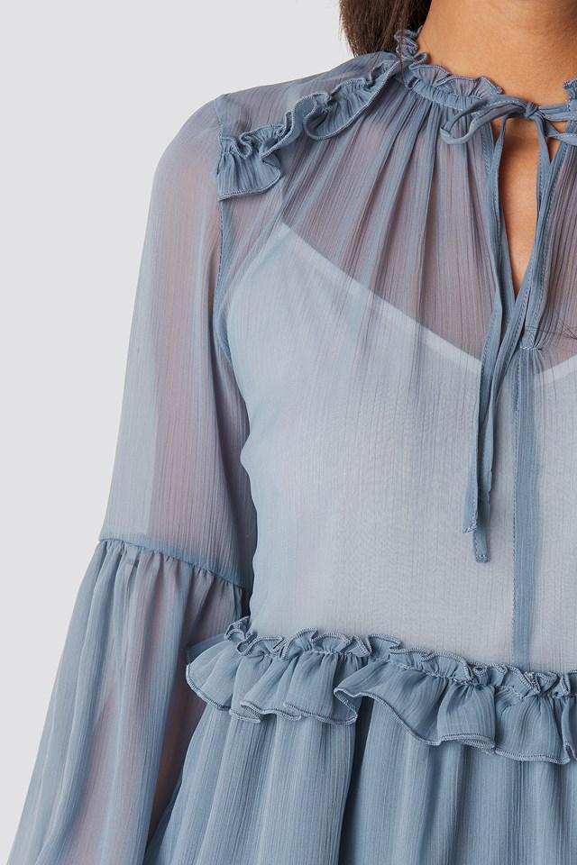 Multi-Frills LS Chiffon Dress Blue Stone