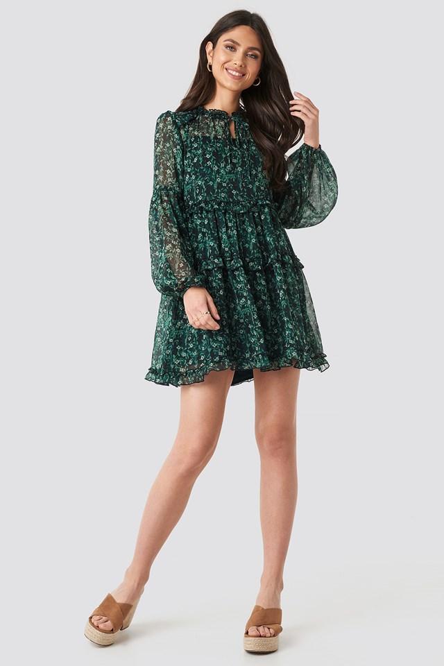 Multi-Frills LS Chiffon Dress Green Flower