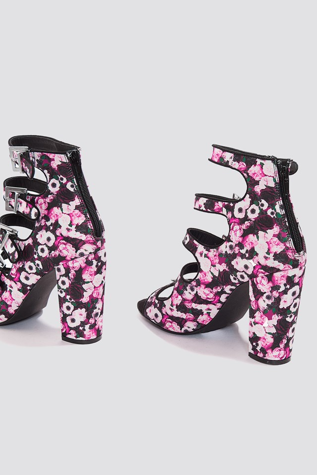 Multi Buckle High Heels Pink Flower