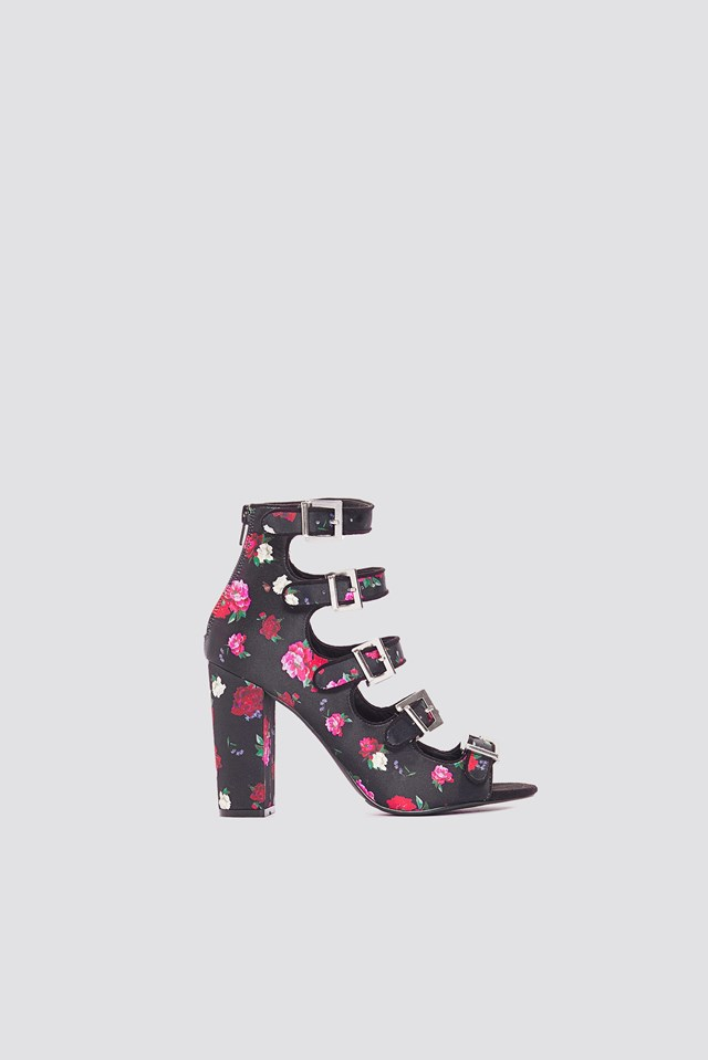 Multi Buckle High Heels Black/Flower Print