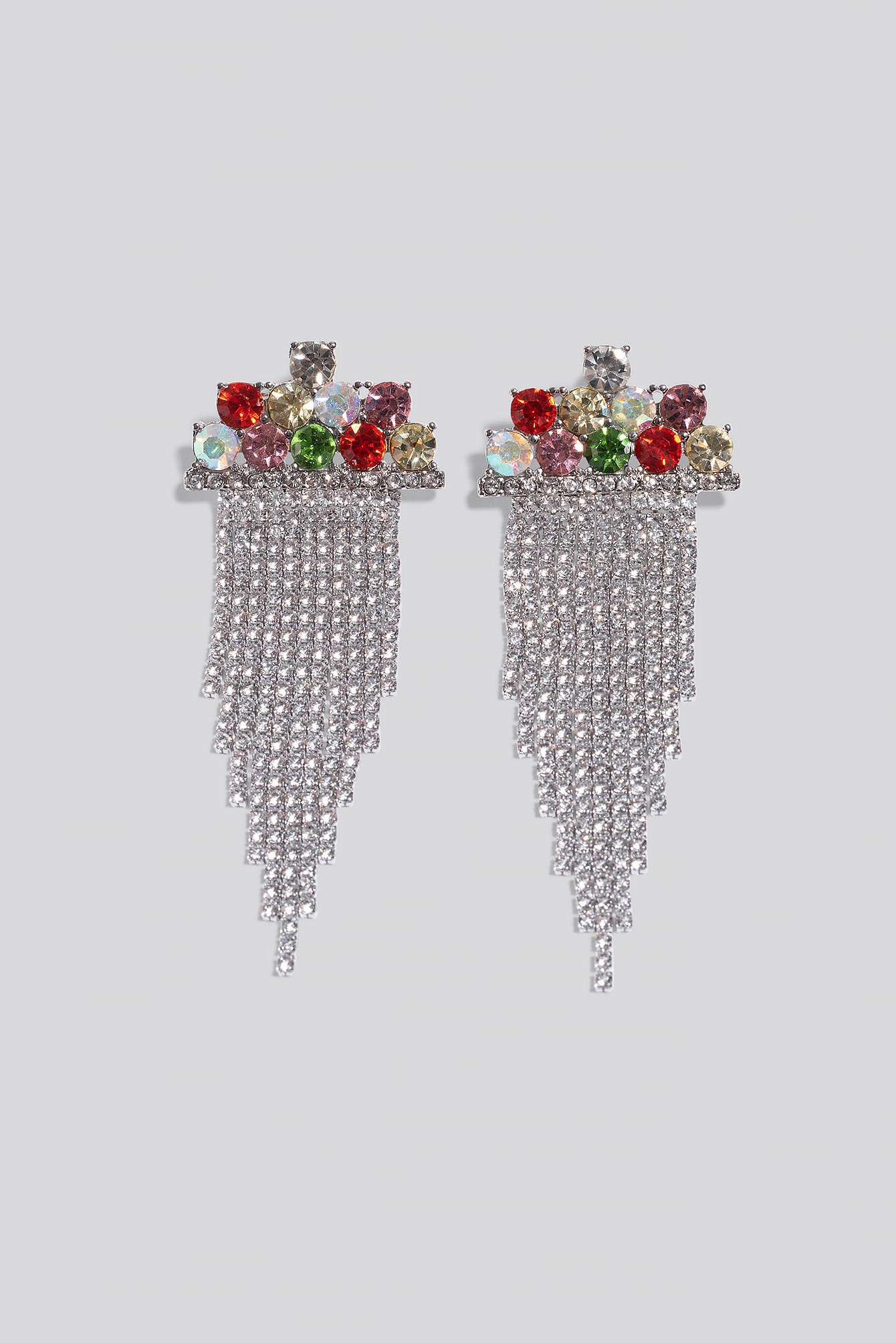 na-kd accessories -  Multi Color Hanging Strass Earrings - Multicolor