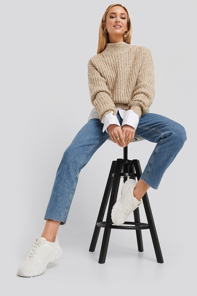 Multi Color Wide Rib Knitted Sweater Beige