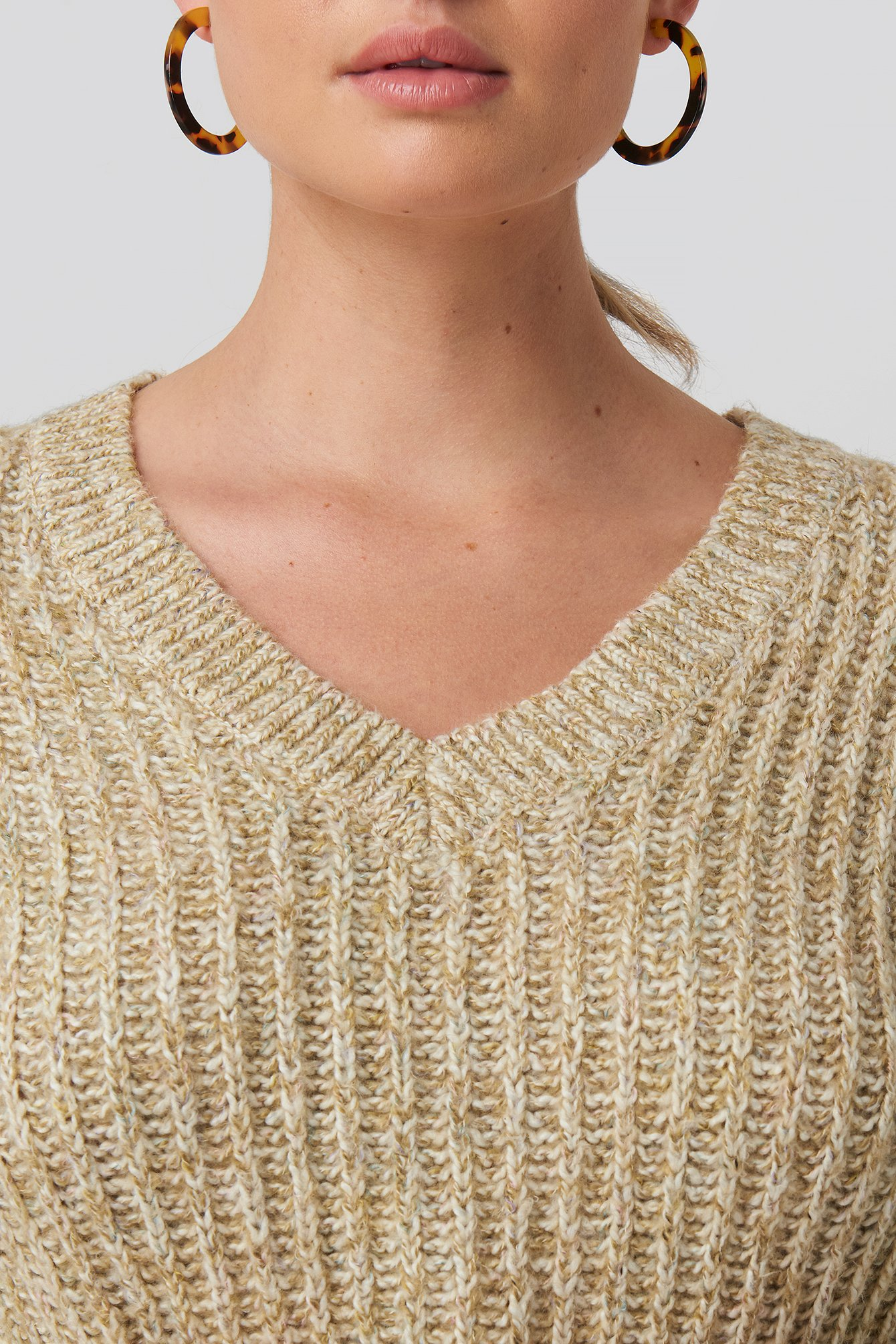 Beige Multi Color V-neck Knitted Sweater