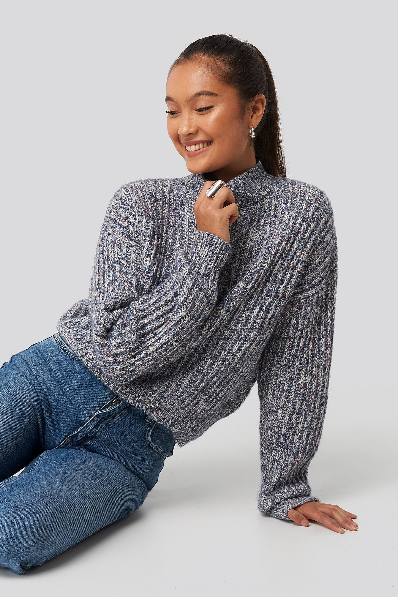 na-kd -  Multi Color Wide Rib Knitted Sweater - Blue