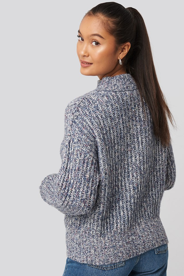 Multi Color Wide Rib Knitted Sweater Blue