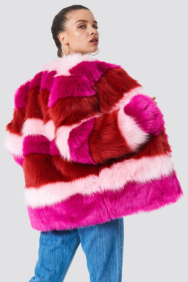 Multi Colour Faux Fur Jacket Pink