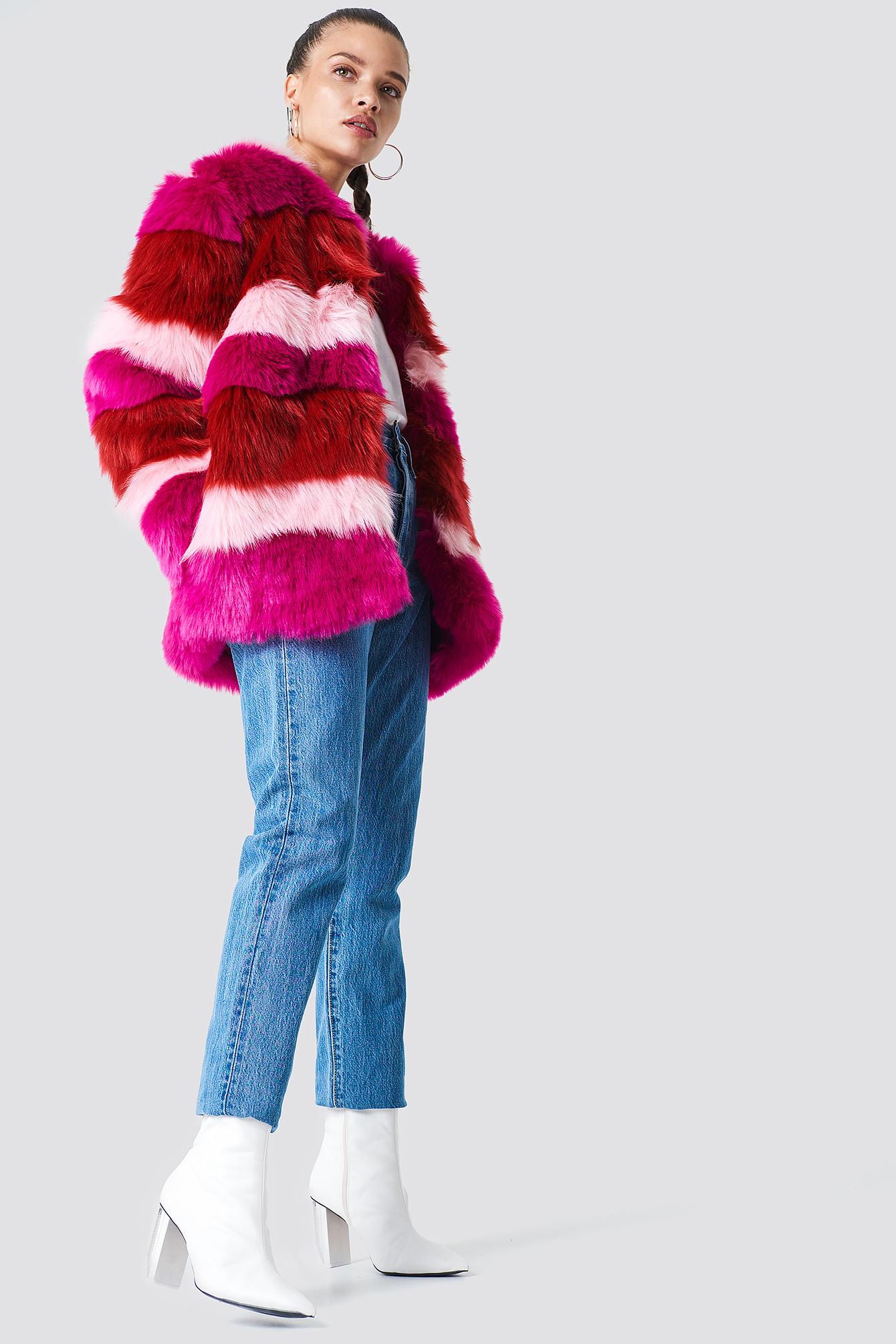 Multi Colour Faux Fur Jacket NA-KD.COM