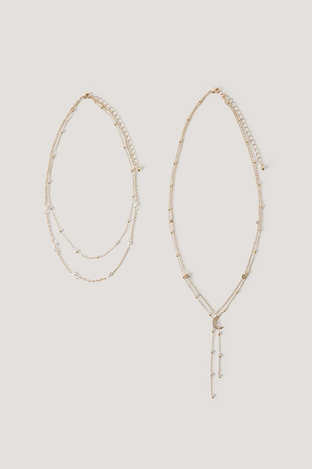 Multi Pearl Moon Drop Necklaces NA-KD Accessories