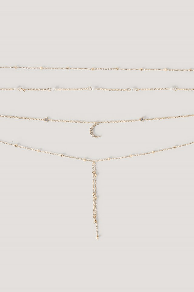 Multi Pearl Moon Drop Necklaces Gold