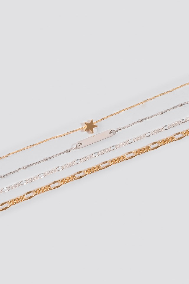Multi Star Plate Necklaces Gold