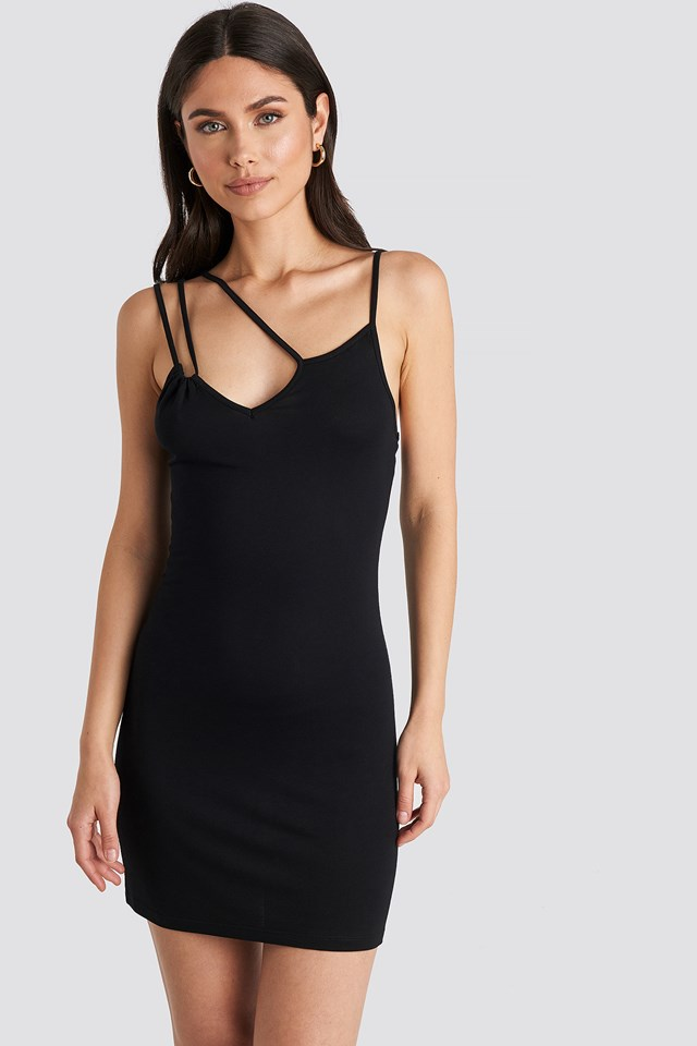 Multi Strap Cami Mini Dress Deep Black