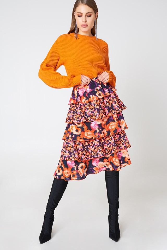 Multifrills Skirt Orange/Pink
