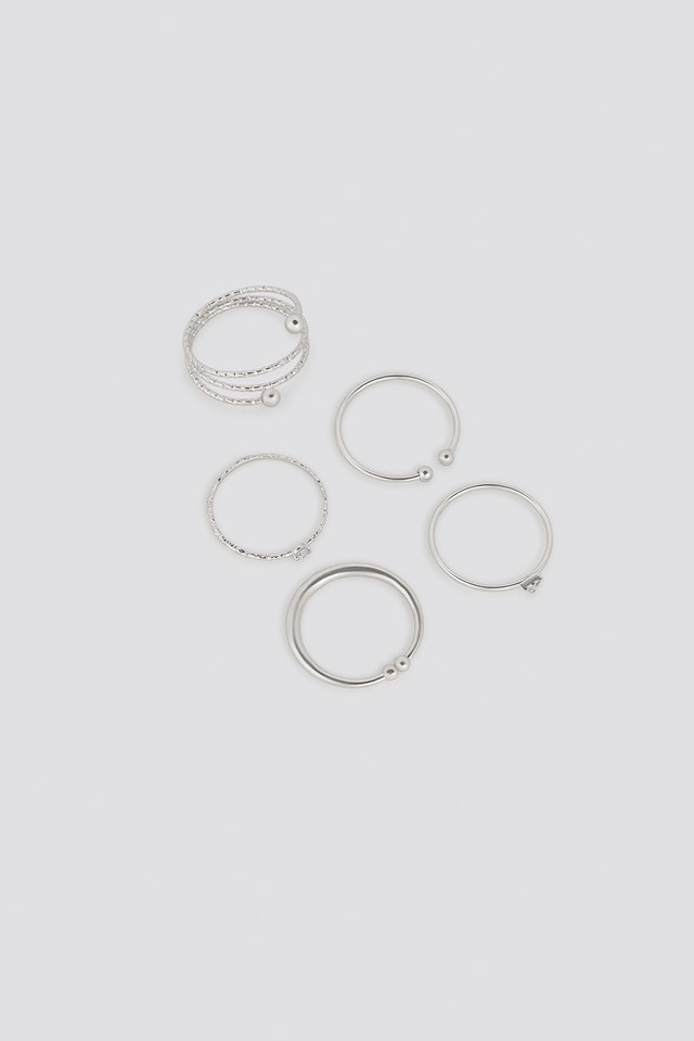 Multipack Fine Hammered Rings NA-KD Accessories