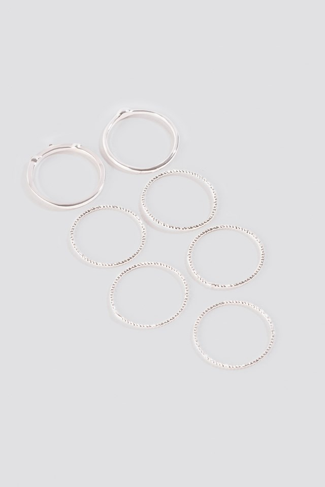 Multipack Fine Rings Silver