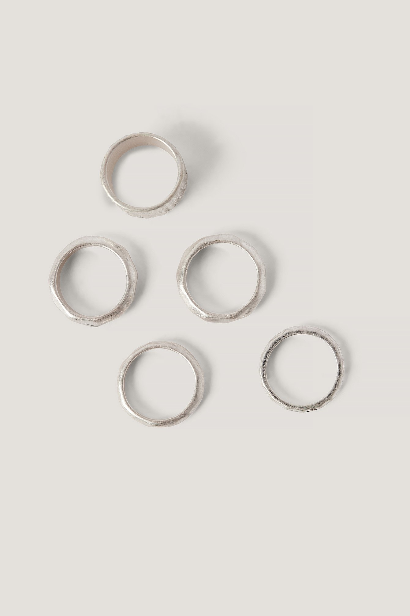 Na-kd Multipack Hammered Rings Silver
