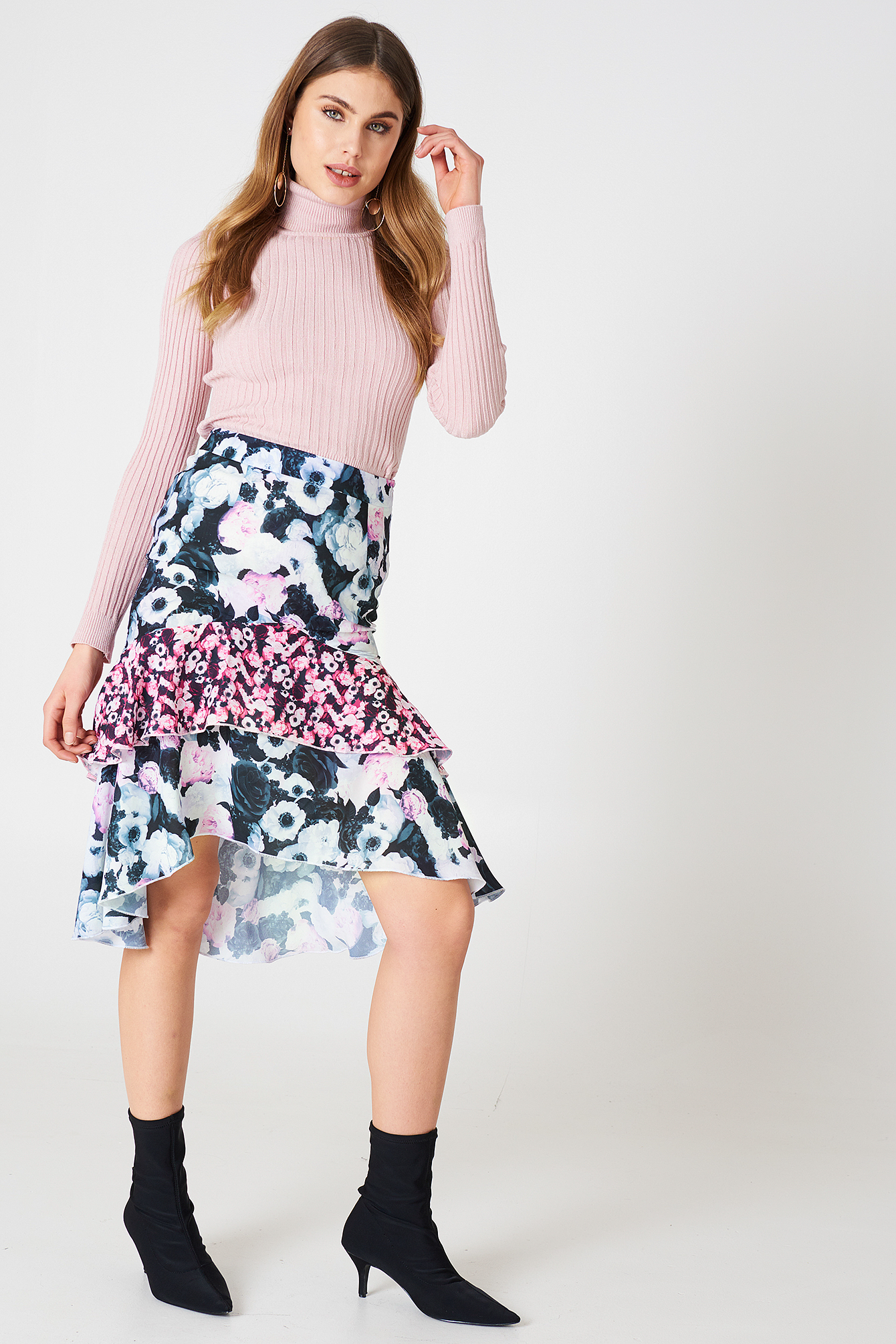Multiprint Frill Skirt NA-KD.COM