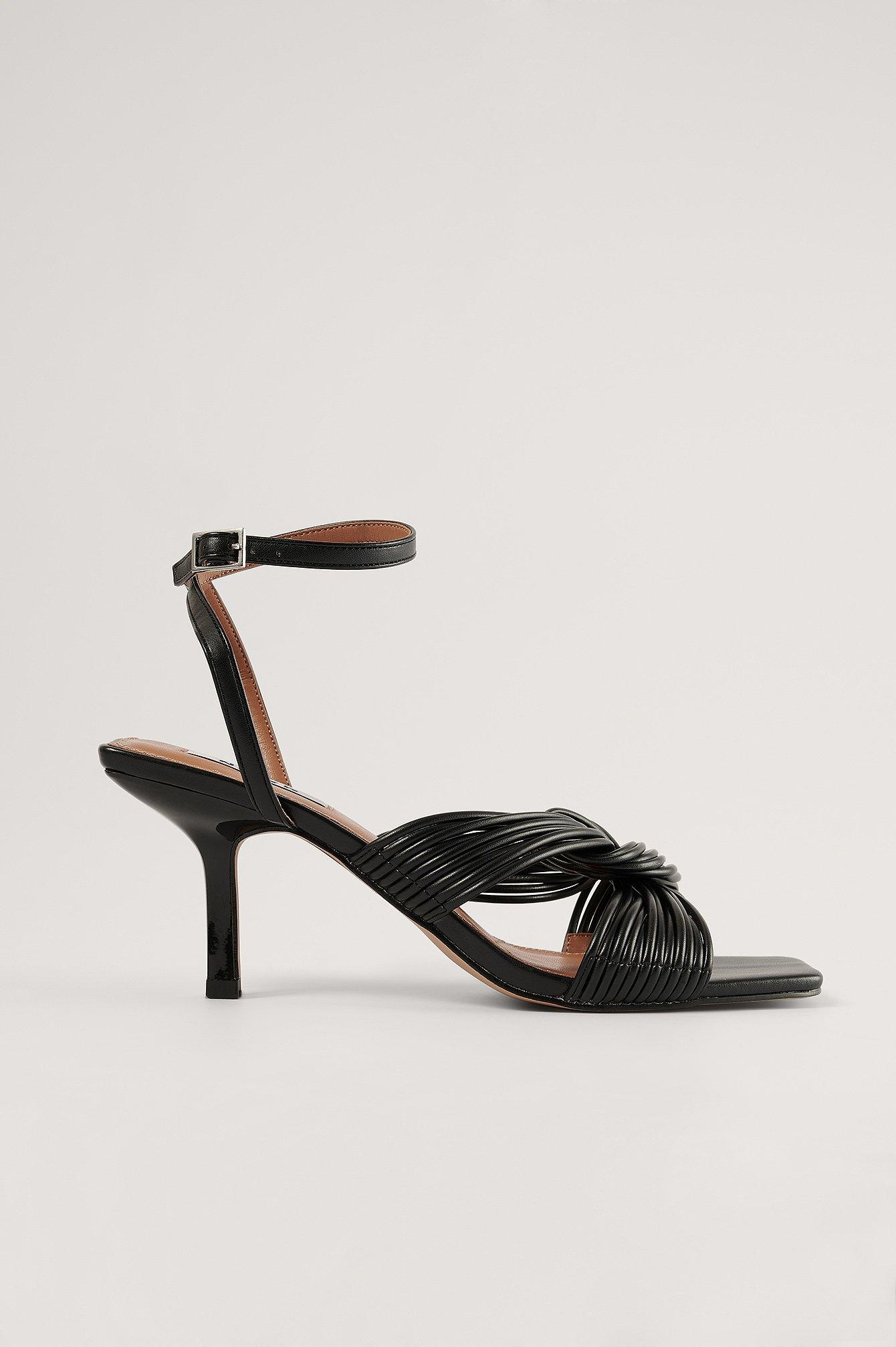NA-KD Shoes Multistrap Knot Heels - Black