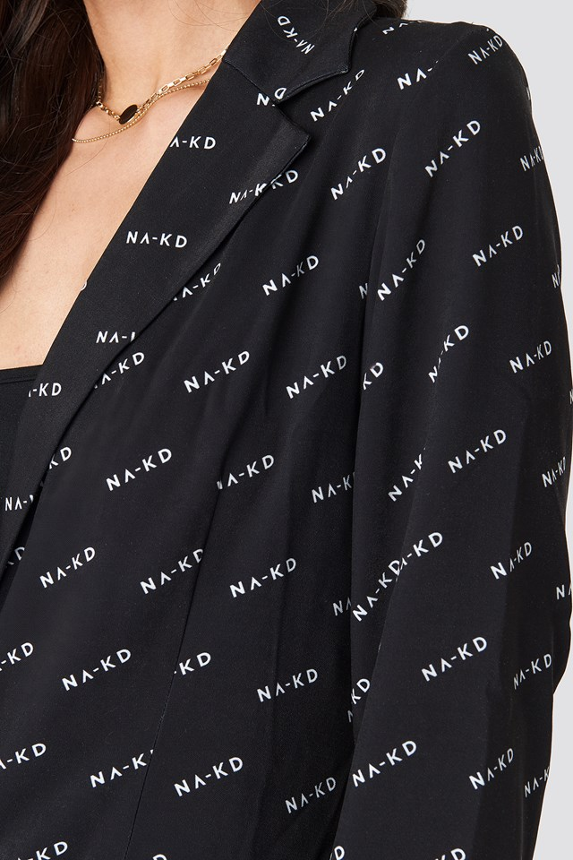 NA-KD Logo Blazer Black