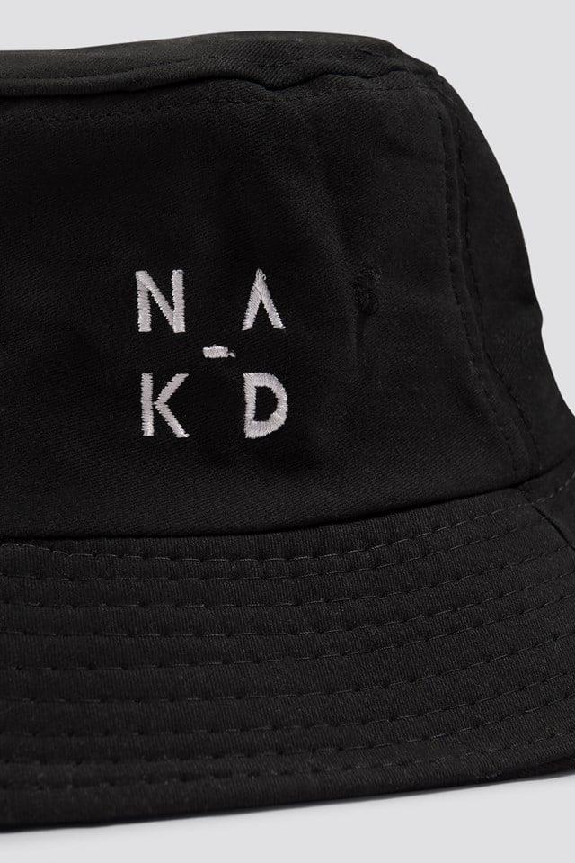 NA-KD Logo Bucket Hat Black