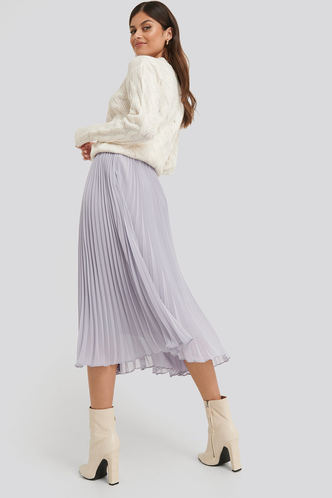 Purple Ankle Length Pleated Skirt
