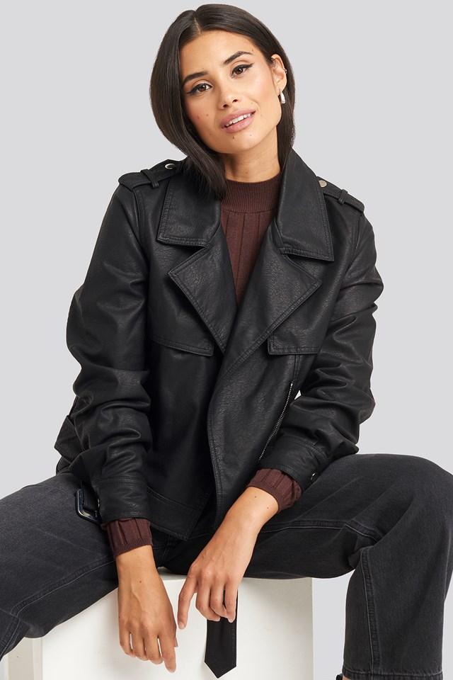 Belted PU Jacket Black