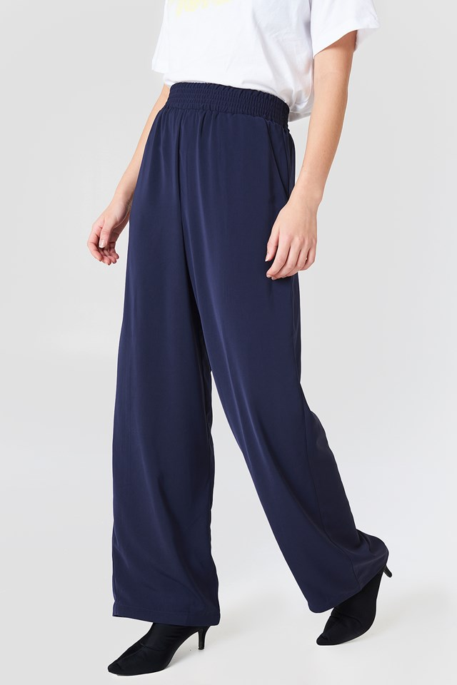 High Waist Wide Pants Midnight Blue
