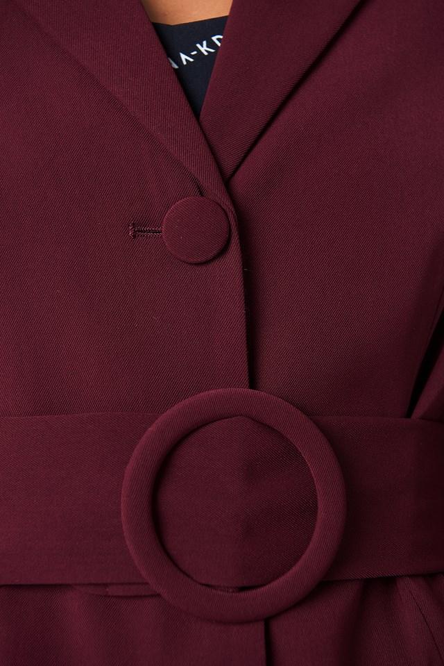 Wide Belted Blazer Burgundy