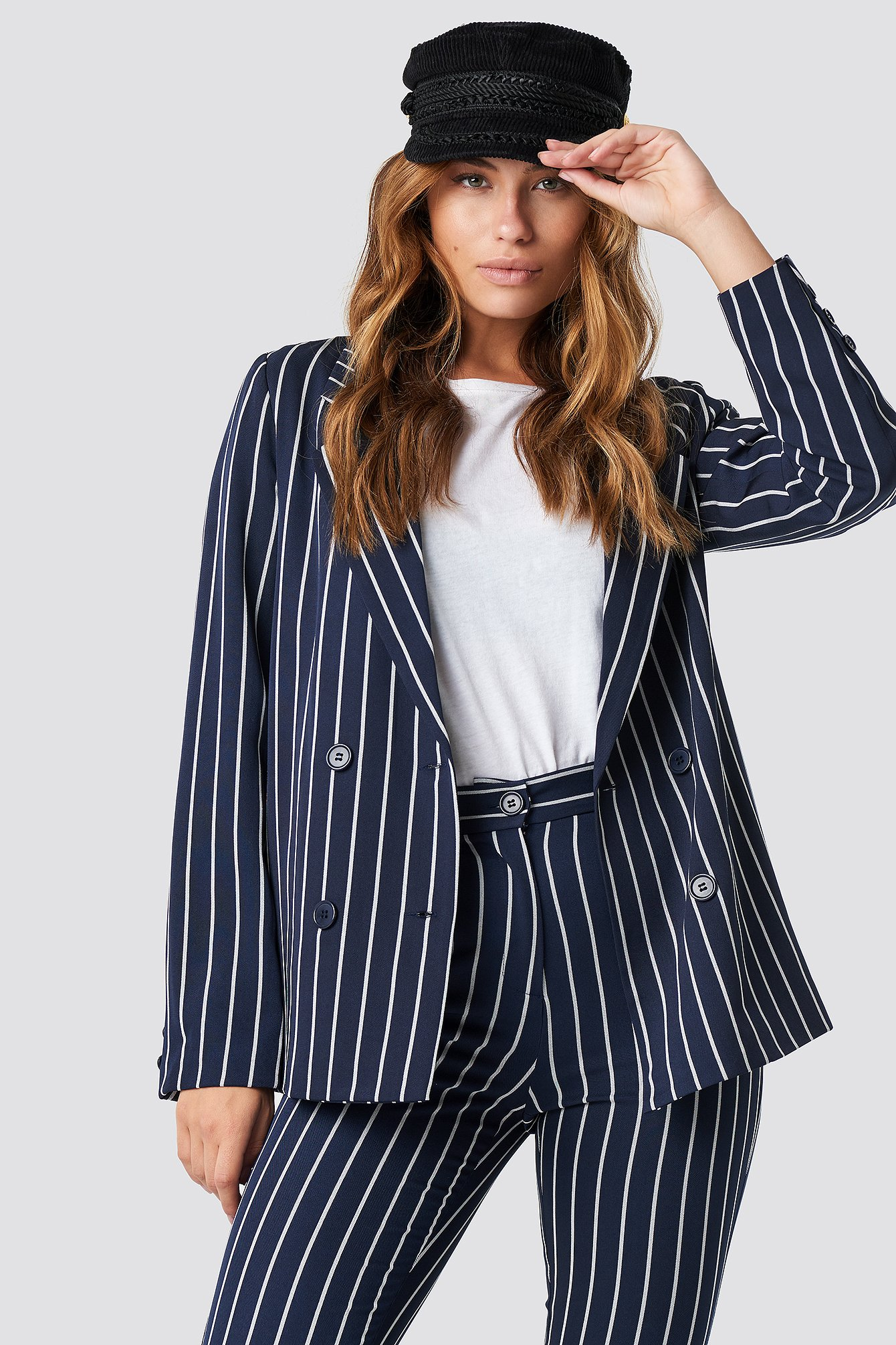 na-kd classic -  Navy Striped Blazer - Blue