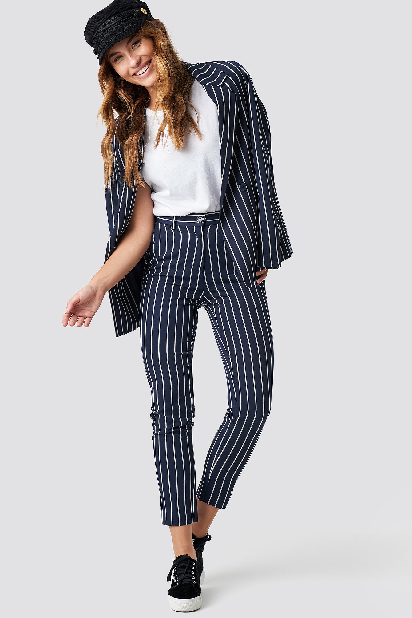 na-kd classic -  Navy Striped Suit Pants - Blue