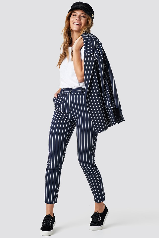 Navy Striped Suit Pants Navy