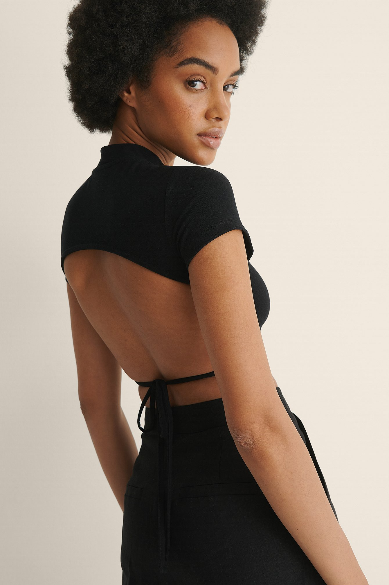 Black High Neck Open Back Tie Detail Top