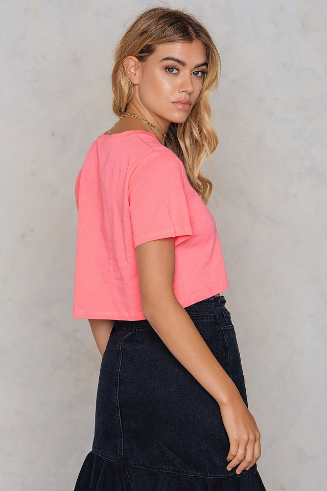 Neon Cropped Tee Pink