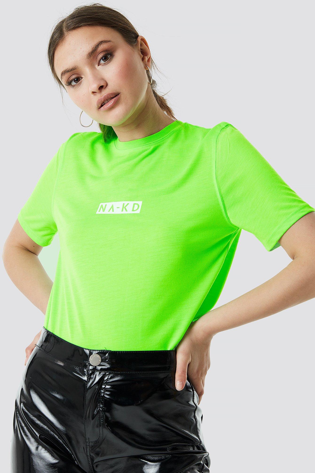 na-kd -  Neon Logo Tee - Green