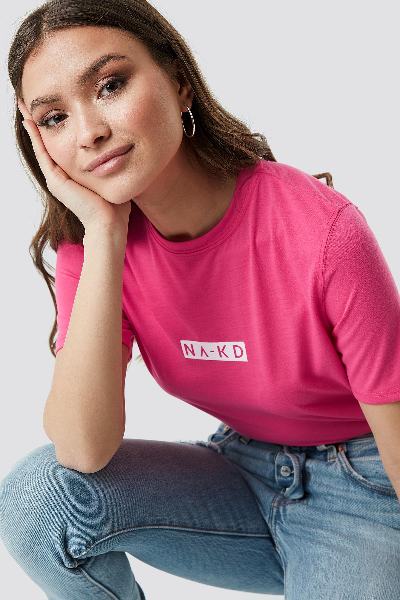 na-kd -  Neon Logo Tee - Pink