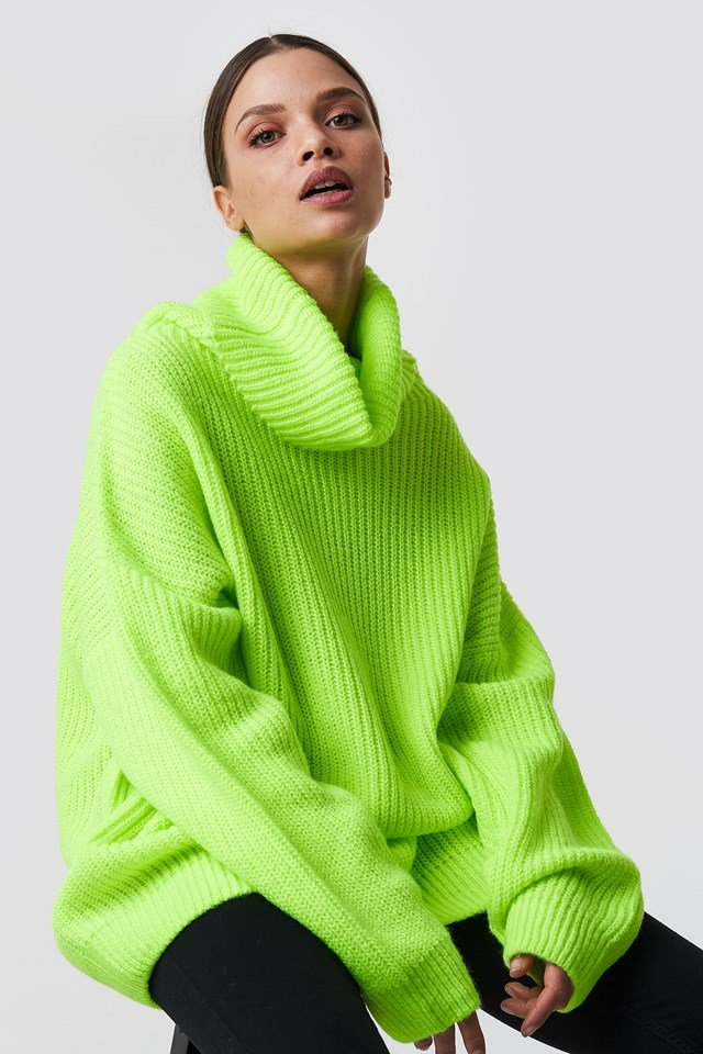 Neon Oversized Sweater Neon Yellow