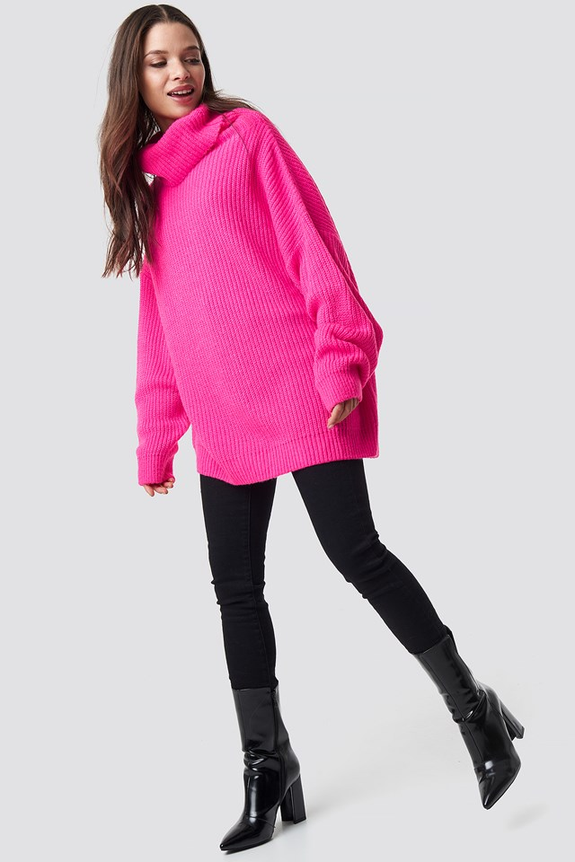 Neon Oversized Sweater Neon Pink