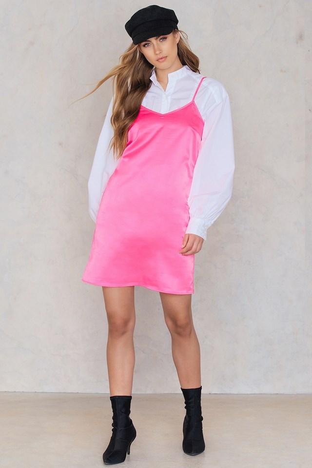 Neon Slip Dress Pink