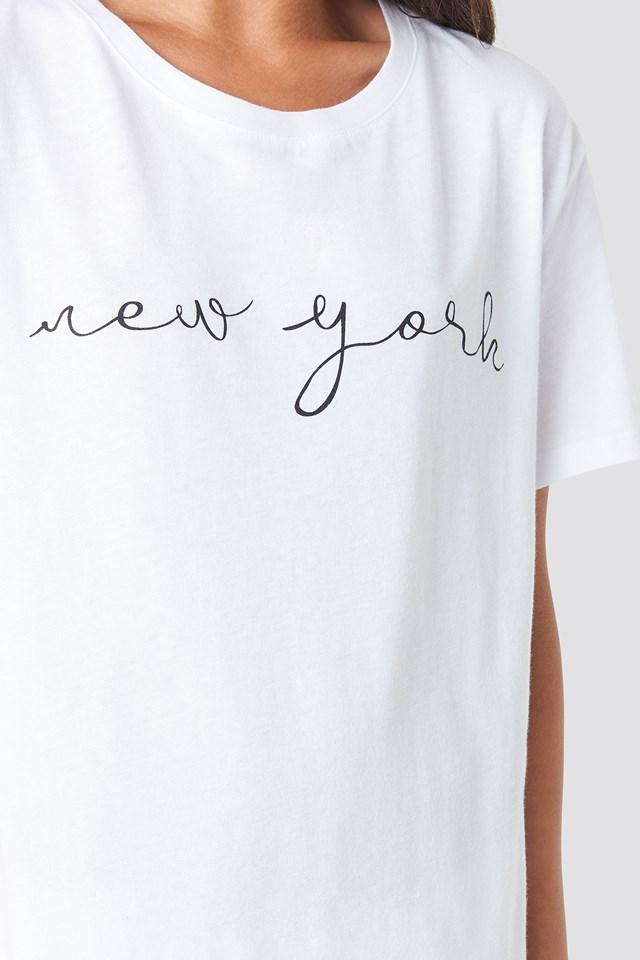 New York Print T-shirt Dress White/Black