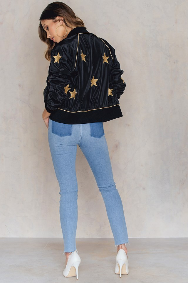 No Pocket Asymmetric Embroidery Jeans Light Blue
