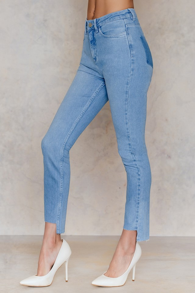 No Pocket Asymmetric Jeans Light Blue