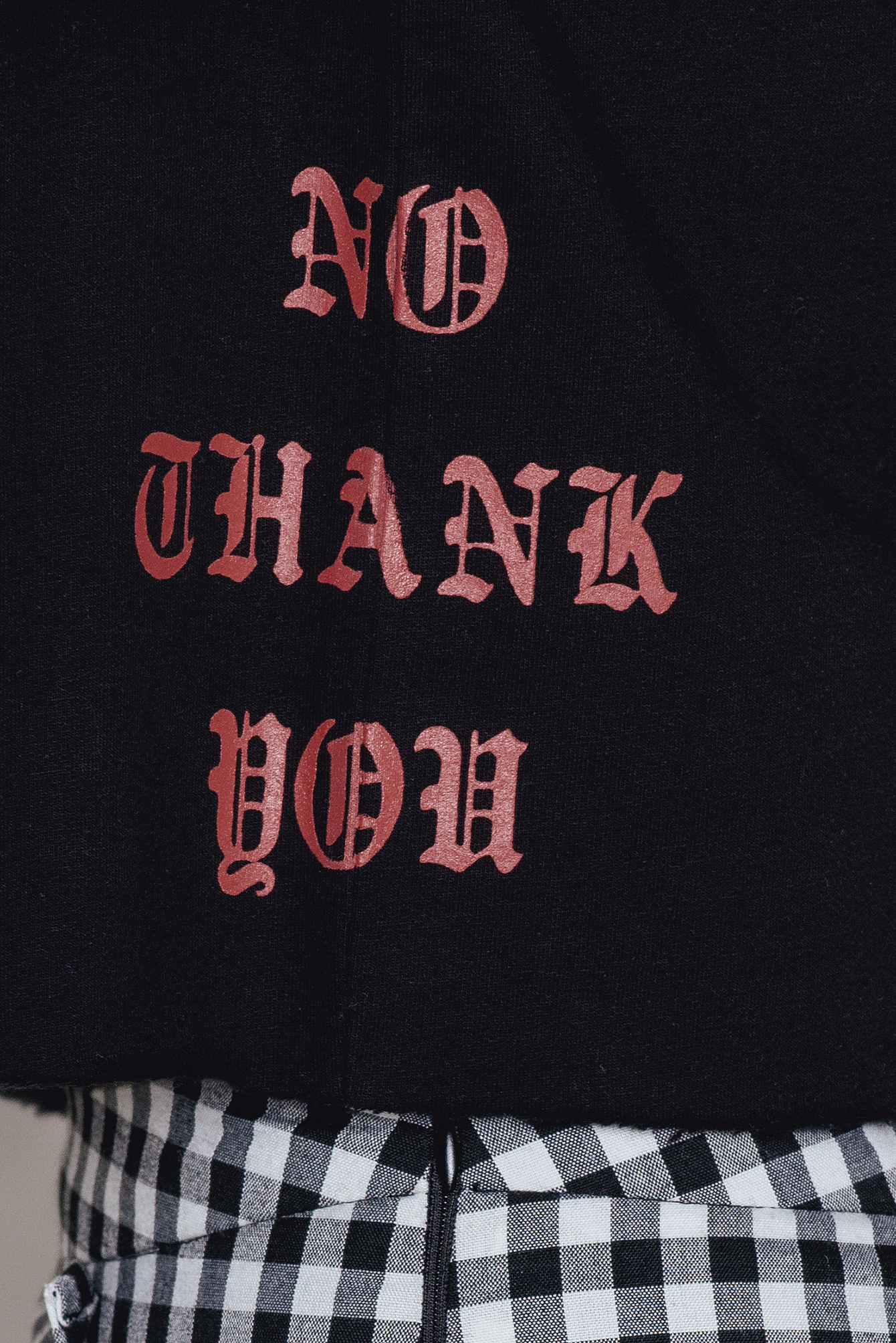 Black No Thank You Cropped Hoodie