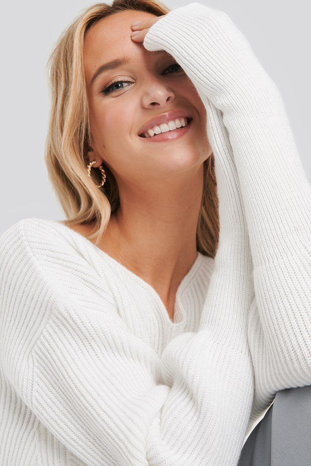 Notched Neckline Ribbed Sweater White