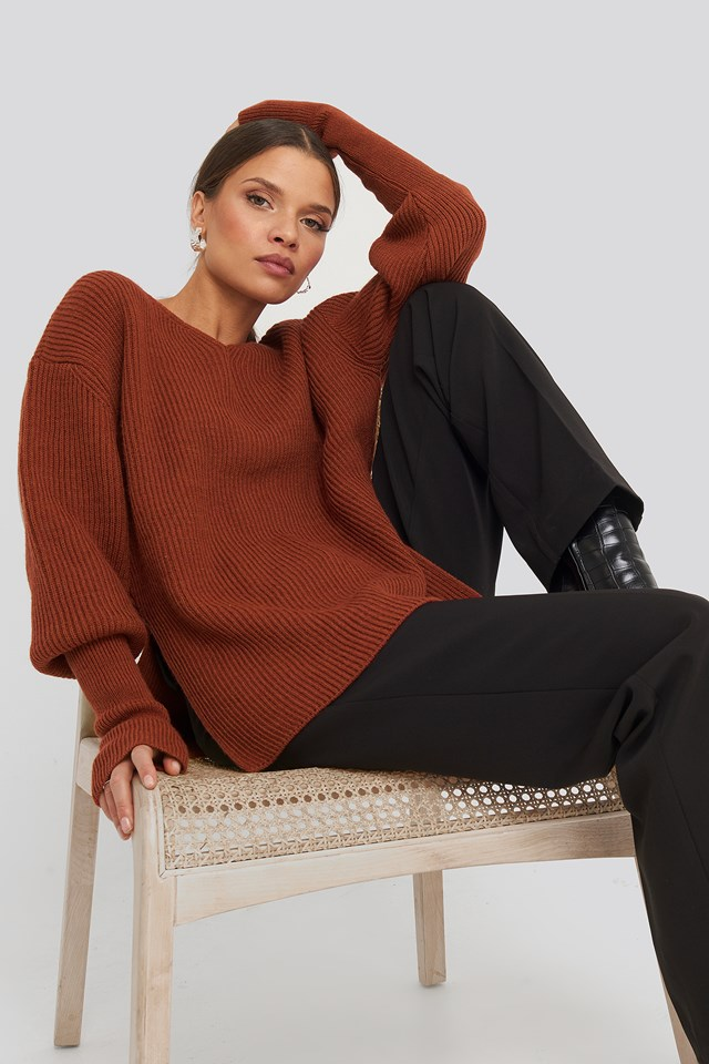 Notched Neckline Ribbed Sweater Brick Red