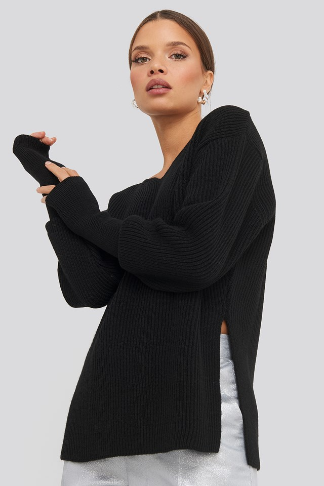 Notched Neckline Ribbed Sweater Black
