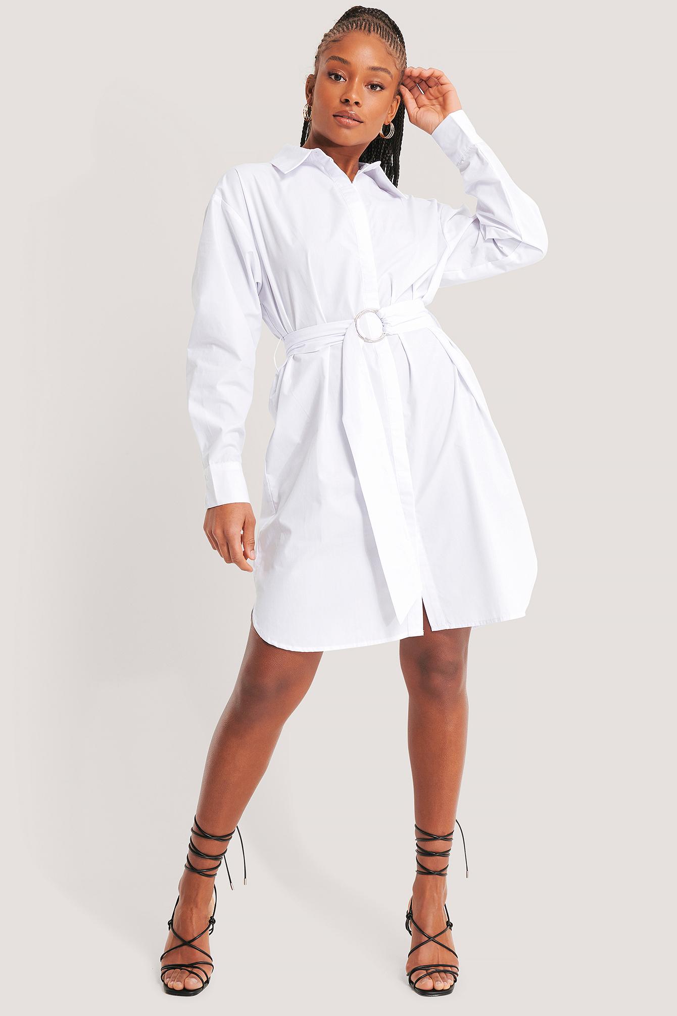 na-kd classic -  O-ring Belted Shirt Dress - White